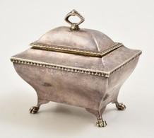 Cca 1910 Angol Ezüst (Ag) Lábas Dobozka, Jelzett, 10×7×9,5 Cm, Nettó: 182,3 G / England, Hallmarked Sugar Box, Signed Ne - Unclassified