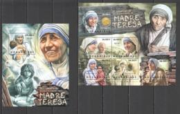 B252 2012 MOZAMBIQUE MOCAMBIQUE FAMOUS PEOPLE MOTHER TERESA 1SH+1BL MNH - Mother Teresa