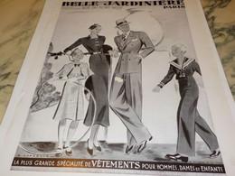 ANCIENNE PUBLICITE MAGASIN BELLE JARDINIERE 1934 - Vintage Clothes & Linen