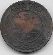Russie - 3 Kopeks - 1872 - Rusia