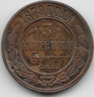 Russie - 3 Kopeks - 1879 - SUP - Russie