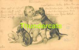 CPA ILLUSTRATEUR CHIEN DACHSHUND TECKEL DACKEL ARTIST SIGNED DOG BABY BEBE - Autres Illustrateurs