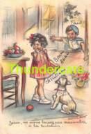 CPA ILLUSTRATEUR GERMAINE BOURET CHIEN DOG ARTIST SIGNED ( CARTE COUPEE !! TRIMMED CARD ) - Bouret, Germaine