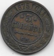 Russie - 3 Kopeks - 1875 - Rusia