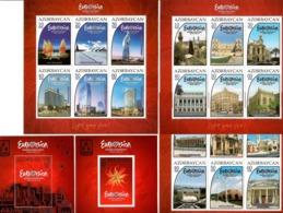 Azerbaijan 2012 . Eurovision 2012. 3 Sheetlets Of 6v + 2 S/S.  Michel # BL 110-114 - Azerbaiján