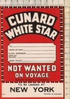 "Antico Adesivo Da Valigia ""CUNARD WHITE STAR"" Stickers Aufkleber Autocollants - Other"