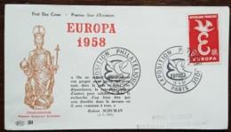 FDC 1958 - YT N°1173 - EUROPA / EXPOSITION PHILATELIQUE - PARIS - FDC