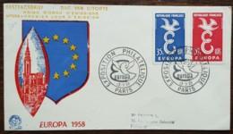 FDC 1958 - YT N°1173, 1174 - EUROPA / EXPOSITION PHILATELIQUE - PARIS - FDC