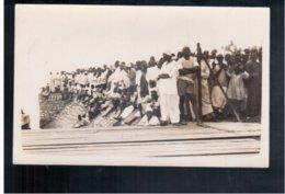 TANZANIA Natives Watching Embarthment Of Landing Party From HMS Enterprise At Tanga 1930 Real Photo - Tanzania