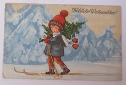 Weihnachten, Kinder, Mode, Ski, Tanne,   1923, Carl Lindeberg ♥ (30445)  - Weihnachten