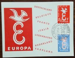 Belgique - CM 1958 - YT N°1064, 1065 - EUROPA - Maximumkarten (MC)