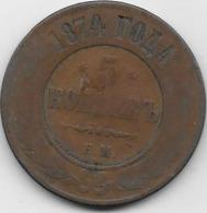 Russie - 5 Kopeks - 1874 - Rusia