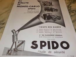 ANCIENNE PUBLICITE COUPE DES DAMES MONTE CARLO  HUILE SPIDO 1934 - Other