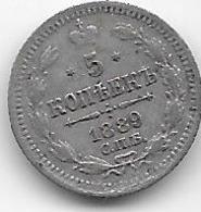 Russie - 5 Kopeks - 1889 - Argent - Rusia