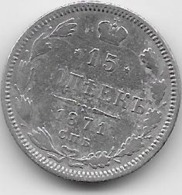 Russie - 15 Kopeks - 1871 - Argent - Russie