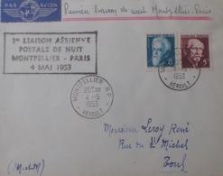 R1949/1183 - LANGEVIN / PERRIN - N°820-821-902 Sur ✉️ - 1ere LIAISON AERIENNE POSTALE DE NUIT : MONTPELLIER à PARIS - France