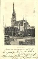 T2 1899 Katowice, Kattowitz; Katholische Kirche / Church, Railway Station's Crossing - Cartoline