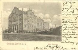 T2/T3 1900 Katowice, Kattowitz; Stadt. Badehaus / Spa (EK) - Cartoline