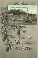 T2 1907 Gorizia, Görz, Gorica; Piazza Grande Mit Kastell / Fröhliche Weihnachten / Square, Monument, Castle. Christmas G - Cartoline