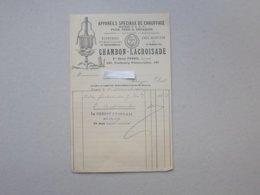 PARIS: Facture 1908 APPAREILS Spéciaux Pour Fers à Repasser CHAMBON-LACROISADE - Faubourg POISSONNIERE - France