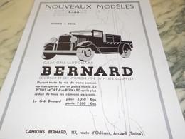ANCIENNE PUBLICITE CAMION BERNARD 1932 - Trucks