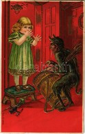 T2 1907 Krampus With Little Girl. Golden Decoration Emb. Litho - Cartoline