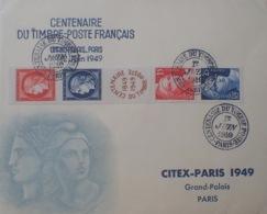 R1949/1186 - CENTENAIRE DU TIMBRE POSTE - BANDE N°833A Sur ✉️ - CITEX PARIS 1949 GRAND PALAIS - CàD Du 01/06/1949 - France