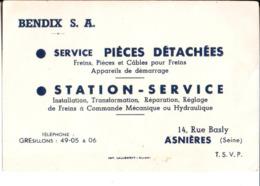 Bendix S. A. Service Pièces Détachées. Station Service. Asnières. Plan Au Dos. - Cartes De Visite