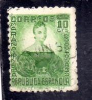 SPAIN ESPAÑA SPAGNA 1935 MARIANA PINEDA CENT. 10c USED USATO OBLITERE' - 1931-Aujourd'hui: II. République - ....Juan Carlos I