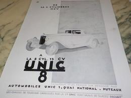 ANCIENNE PUBLICITE CAMIONNETTES UNIC 1932 - Cars