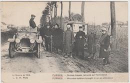 GUERRE DE 1914 FURNES SOLDATS BLESSES RAMENES SUR L'AMBULANCE TBE - Autres