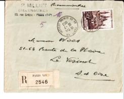 Enveloppe P. Milliet Chaussures Paris 14 ème. Adressée à M. Woos . Le Vésinet . 1953. - Frankreich