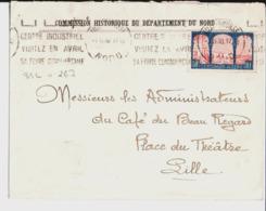 Enveloppe Commission Historique Du Département Du Nord Aux Administrateurs Du Café Du Beau Regard à Lille. 1930. - Frankreich