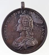 Franciaország 1793. 'Mária Antónia' Ag Emlékérem Füllel. Szign.: Baldenbach (26,77g/47mm) T:2 Patina / France 1793. 'MAR - Zonder Classificatie