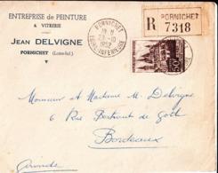 Enveloppe Entreprise De Peinture Jean Delvigne à Pornichet. à M. Et Mme Delvigne à Bordeaux. 1952. - Frankreich