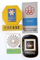 4db Klf Ritka Olimpiai Sajtó Jelvény: Innsbruck 1964. (30x42mm); Grenoble 1968. (35x45mm); München 1972. (26x35mm); Mont - Zonder Classificatie