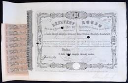 Buda 1868. 'Budai Közúti-vaspálya Társaság' Részvénye 200Ft-ról, Szelvényekkel, Bélyegzéssel, Szárazpecséttel, Lyukasztá - Zonder Classificatie