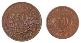 Kenyérmező / Hadifogolytábor 1915. 10f Cu + 50f Cu T:1- /  Hungary / Kenyérmező / POW Camp 1915. 10 Fillér + 50 Fillér C - Zonder Classificatie