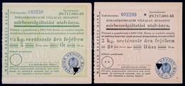 Budapest ~1950. 'Zsiradékforgalmi Vállalat' Zsírbeszolgáltatási Utalványai 5Ft-20Ft értékben (2xklf), Mind Kitöltetlen é - Zonder Classificatie