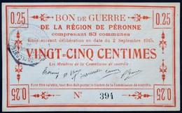 Franciaország / Péronne 1915. 25c 'Bon De Guerre' T:II / France / Péronne 1915. 25 Centimes 'Bon De Guerre' C:XF - Zonder Classificatie