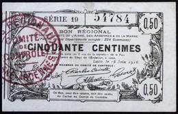 Franciaország / Laon 1916. 50c 'Ardennes, Aisne és Marne Megyék Regionális Utalványa', 'Comité De Contrôle' Bélyegzéssel - Zonder Classificatie