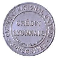 Franciaország 1920. 5c Al 'Lyoni Bank' Szükségpénz Bélyeggel (32mm) T:2 /  France 1920. 5 Centimes Al 'Bank Of Lyon' Nec - Zonder Classificatie