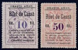 Románia / Arad 1920. 10f 'Orasul Arad - Bilet De Cassa' + 50f 'Orasul Arad - Bilet De Cassa' T:I- Ragasztónyom /  Romani - Zonder Classificatie