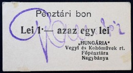 Románia / Nagybánya ~1920. 1L 'Hungária Vegyi és Kohóművek Rt. Főpénztára' Pénztári Bon T:I- Ragasztónyom / Romania / Ba - Zonder Classificatie