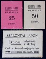 Nagyszalonta ~1920. 10 Bani 'Szalontai Lapok' Utalvány + 25 Bani 'Szalontai Lapok' Utalvány + 1K 'Szalontai Lapok' Utalv - Zonder Classificatie