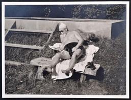 Procopius Béla (1868-1945) Numizmatikus Fürdőruhás Fotója (88x106mm) / Photo Of Béla Procopius (1868-1945) Hungarian Num - Zonder Classificatie