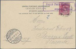 """1906, 6 C. Rot Auf Ansichtskarte Von Kandy Mit Hotelstempel Galle Face Hotel"""" Nach Plauen Gelaufen"""" - Ceylon (...-1947)"""