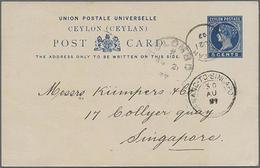 1897, 5 Cents Blau, Bedarfs-GA-Karte Von Colombo Mit Transit-Stempel Penang To Singapure Nach Singapure Gelaufen - Ceylon (...-1947)