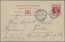 """1900, 6 Cents Rot, Bedarfs-GA-Karte Von Colombo Mit Stempel M.O.&..../Slave..."""" Nach Dresden Gelaufen"""" - Ceylon (...-1947)"""
