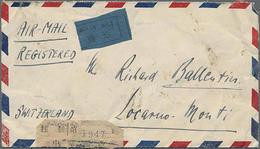1946, 100 $ , 4x 100 $ U.a. Rs. Auf LP-R-Bedarfsbrief Von Peiping Nach Locarno/Schweiz - China